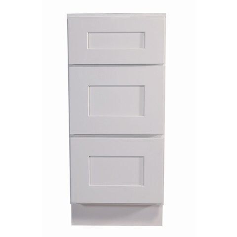 """Design House 561449 Brookings 12"""" Wide x 34-1/2"""" High Base Cabinet with Three Drawers - White"""