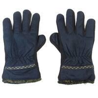 Unique Bargains Winter Dark Blue Black Cotton Blends Warmer Gloves for Adults