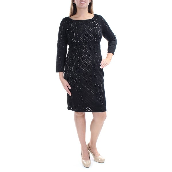612fb85ba4c Shop CALVIN KLEIN Womens Black Eyelet 3 4 Sleeve Jewel Neck Knee Length  Sheath Dress Size  L - On Sale - Free Shipping On Orders Over  45 -  Overstock - ...