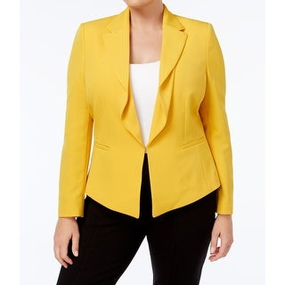 Tahari by ASL Marigold Yellow Womens 24W Plus Ripple-Front Jacket