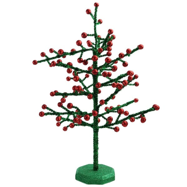 "21.5"" Red Berry and Green Glitter Artificial Christmas Tree - Unlit"