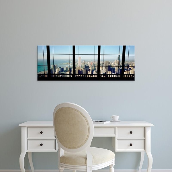 Easy Art Prints Panoramic Image 'View of a city as seen through a window, Chicago, Illinois, USA' Canvas Art