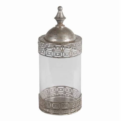 Round Glass Jar with Geometric Metal Pattern and Finial Top, Large, Silver