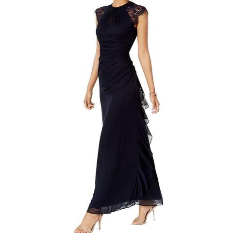 50dfb3e6c20 Betsy   Adam Women s Ruched Lace-Trim Gown Dress