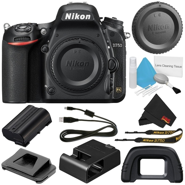 Nikon D750 DSLR Camera (Body Only) 1543 (International Model) + Deluxe Cleaning Kit + MicroFiber Cloth Bundle
