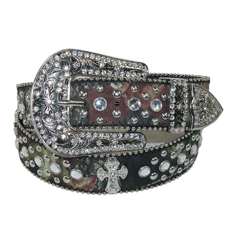 CTM® Women's Rhinestone Cross on Mossy Oak Camo Belt