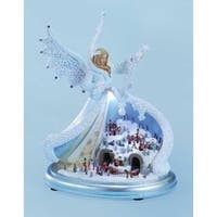 "10.75"" Amusements LED Lighted Musical Angel with Winter Town Scene Christmas Decoration"