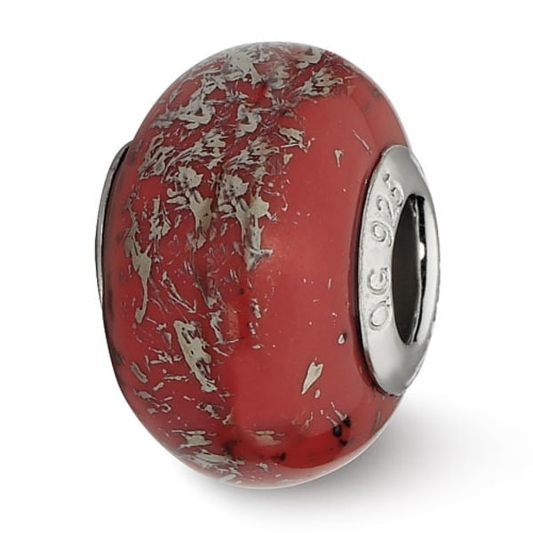 Italian Sterling Silver Reflections Red with Platinum Foil Ceramic Bead (4mm Diameter Hole)