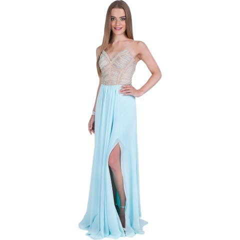 Terani Couture Women's Beaded Strapless Chiffon Gown
