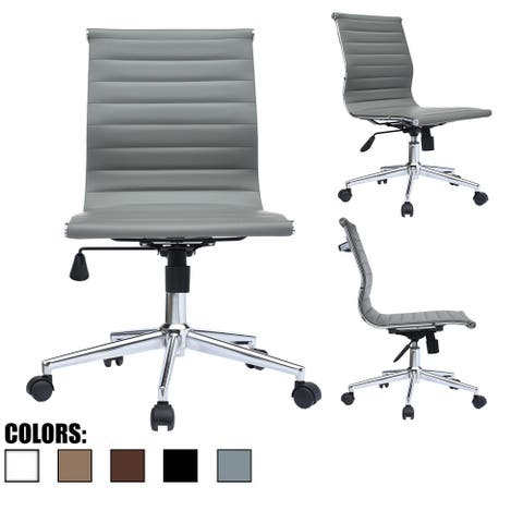 (Retired) Gray Swivel Adjustable Height PU Leather Office Chair Mid-Back Armless No Arms Side Ribbed Executive Task