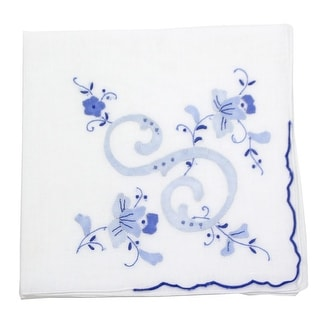 Cotton Handkerchief with Vintage-Style Monogram