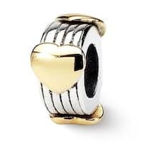 Sterling Silver & 14k Reflections Heart Bead (4mm Diameter Hole)