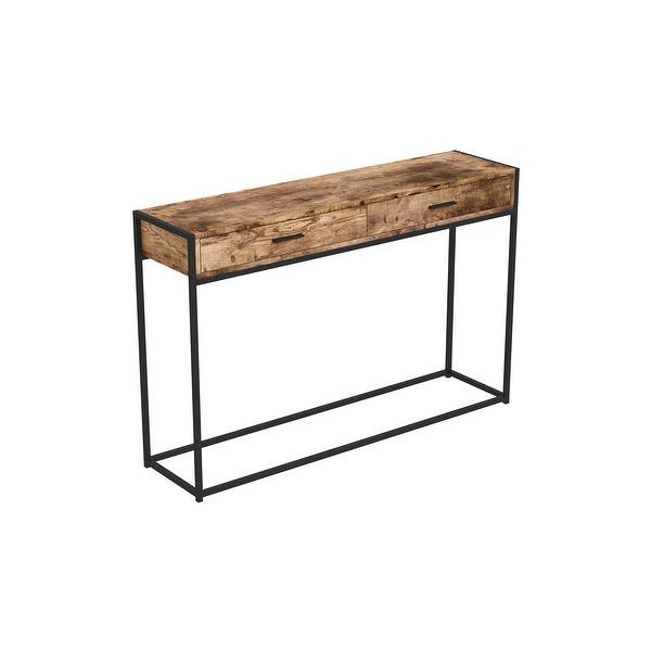 Console Table 48l Brown Reclaimed Wood 2 Drawers Black Metal 48 X 12 X 32 Overstock 32411362