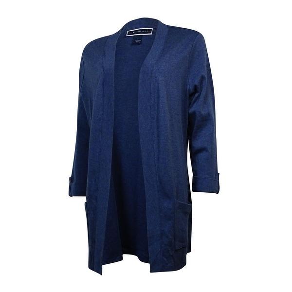 Karen Scott Women's Cuffed Cotton Knit Open Cardigan - heather indigo - s