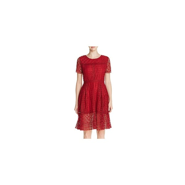 Cupcakes and Cashmere Womens Mori Cocktail Dress Lace Short Sleeve