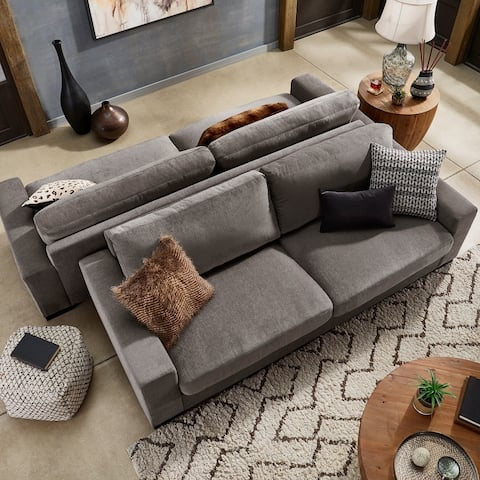 Ashton Grey Fabric Double Sided Down-Feather Extra-long Sofa by iNSPIRE Q Artisan