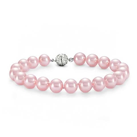 Hand Knotted Strand Fashion Pale Pink Imitation Pearl Bracelet 10MM