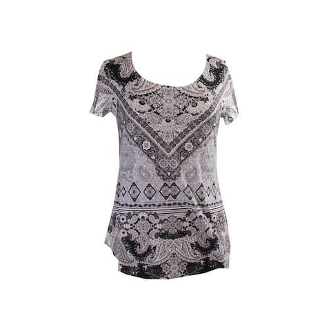 Style & Co. Grey Black Short-Sleeve Printed Studded T-Shirt XS