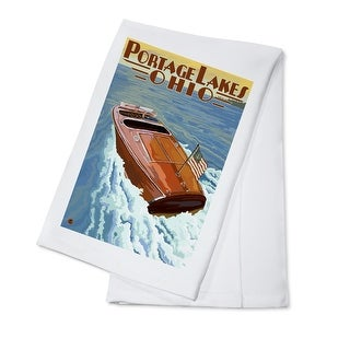 Portage Lakes, Ohio - Wooden Boat - LP Artwork (100% Cotton Towel Absorbent)