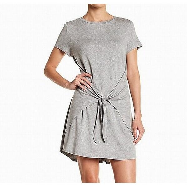 c610e0082a6b7 Soprano Deep Gray Womens Size XS Side-Slit Tie-Front Shirt Dress