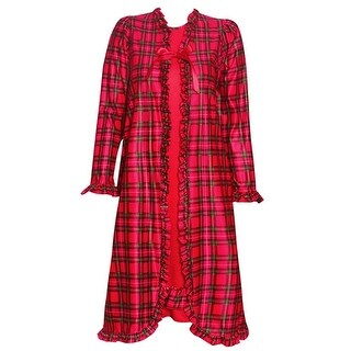 Laura Dare Little Girls Red Plaid Ruffle Trim Nightgown 2 Pc Peignoir Set