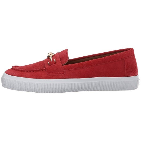 Coach Womens COREY Suede Closed Toe Loafers, TRUE/RED, Size 10.0