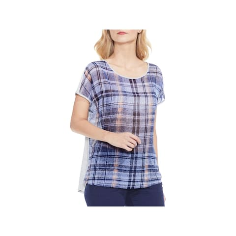 Vince Camuto Womens Casual Top Plaid Short Sleeves