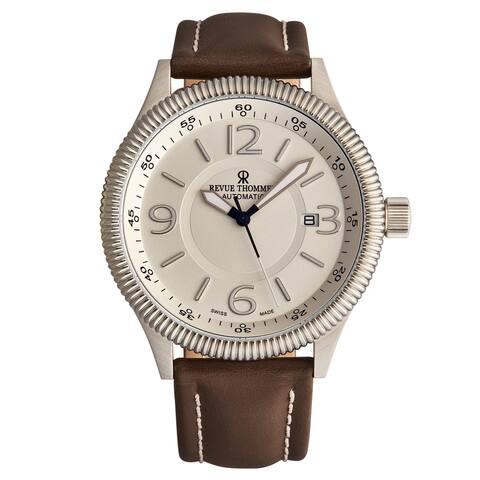 Revue Thommen Men's 17060.2528 'Pilot' Silver Dial Brown Leather Strap Automatic Watch