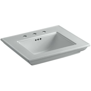 """Kohler K-2345-8  Memoirs Stately 24-1/2"""" Fireclay Pedestal Bathroom Sink with 3 Holes Drilled and Overflow"""