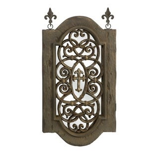 "39.5"" Medieval-Style Distressed Fleur de Lis Wall Mirror Decoration - Brown"