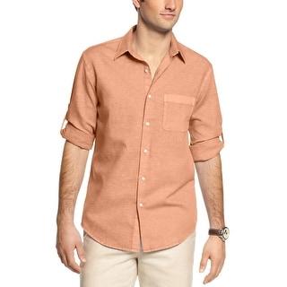 Tasso Elba Big and Tall Island Linen Blend Shirt Pink Topaz 4XLT Tall
