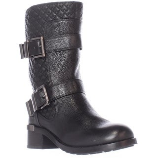 Vince Camuto Welton Quilted Mid Calf Motorcycle Boots - Black Vintage