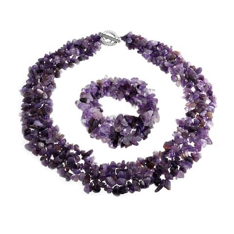 Chunky Purple Amethyst Stone Chips Statement Bib Necklace For Women Collar Stretch Bracelet For Women Set 18 inch