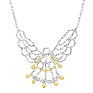 Guardian Angel Beaded Necklace in Sterling Silver & 10K Gold