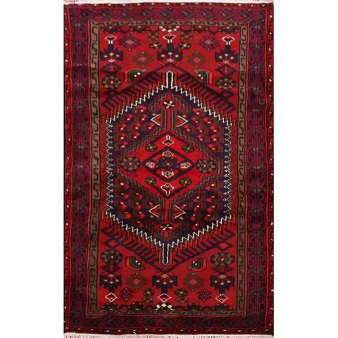 "Navy Blue Geometric Hamedan Persian Area Rug Wool Handmade Carpet - 3'3"" x 5'0"""