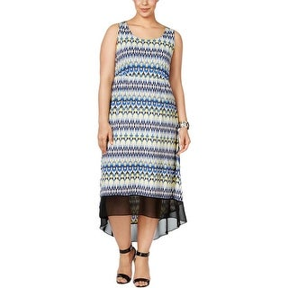 NY Collection Womens Plus Casual Dress Printed Sleeveless