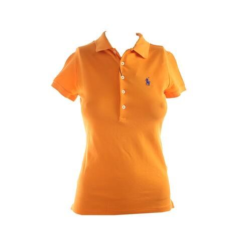 Polo Ralph Lauren Orange Short-Sleeve Stretch Mesh Polo Shirt XS