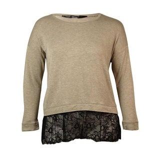 Kensie Women's  Long-sleeve Scoop-neck Lace-hem Blouse