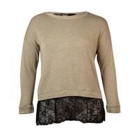 Kensie Women's  Long-sleeve Scoop-neck Lace-hem Blouse - Heather Chai Combo