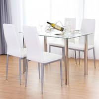 Costway 5 Piece Dining Set Table and 4 Chairs Glass Metal Kitchen Breakfast Furniture - as pic