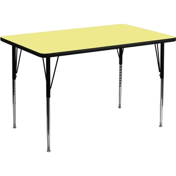 Offex 30''W x 60''L Rectangular Activity Table with Yellow Thermal Fused Laminate Top and Standard Height Adjustable Leg
