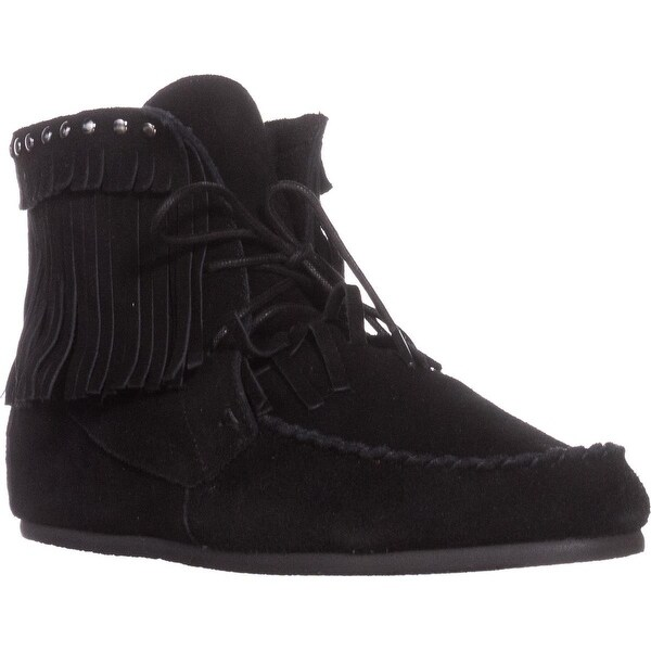 Yellow Box Once High Tope Fringe Moccasins, Black