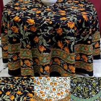 Beautiful Handmade 100% Cotton French Floral Print Tablecloth 60 inches & 72 Inch & 90 Inch Round
