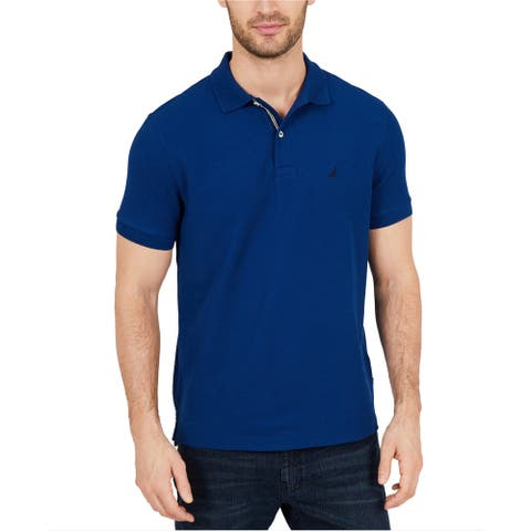 Nautica Mens Perfomance Rugby Polo Shirt, Blue, Large