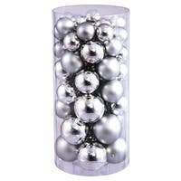 Christmas at Winterland WL-ORNTUBE-70-SLV 2.5-Inch Plastic Shatterproof Silver Ball Ornaments (Package of 100)