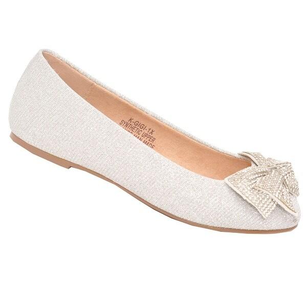 1689c06129 De Blossom Girls Silver Glitter Rhinestone Bow Adorned Slip-On Flats