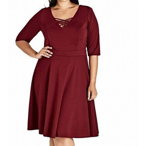 City Chic Red Womens Size 22W Plus Cross Neck Pleated A-Line Dress