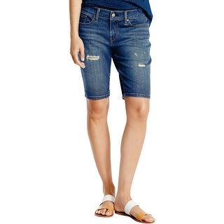 Levi's Womens Denim Shorts Cuffed Destroyed