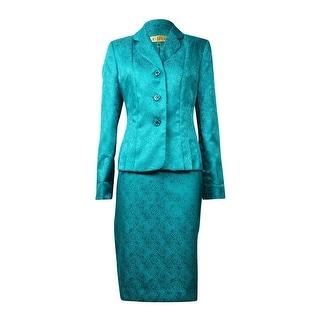 Kasper NEW Green Jacquard Women's 4 Embellished Button Skirt Suit Set