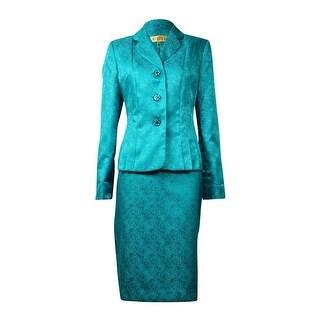 Kasper NEW Green Women's Size 14 Metallic Three Button Skirt Suit